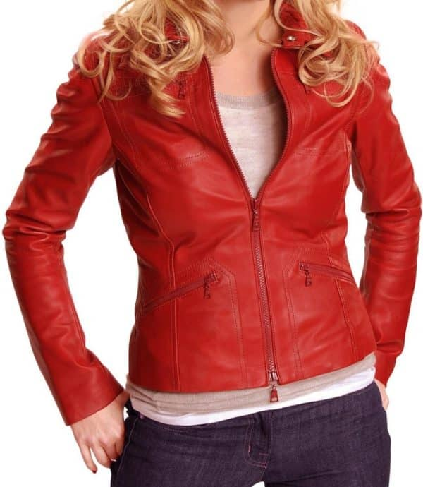 emma swan once upon a time red real leather jacket