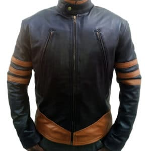 xmen origins wolverine black leather jacket