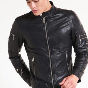 Atlanta Men Black Leather Motorcycle Jacket-front