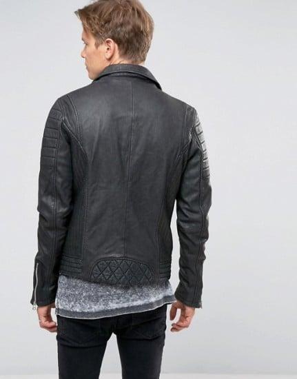 Jackson Mens Black Leather Asymmetrical Biker Jacket-back