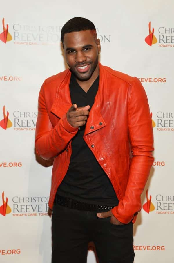 Jason-Derulo-wearing-Julius-Red-Leather-Biker-Jacket-Upscalehype-Christopher-Dana-Reeve-Foundation