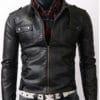 Slimfit-Rider-Strap-Pocket-Black-Leather-Jacket