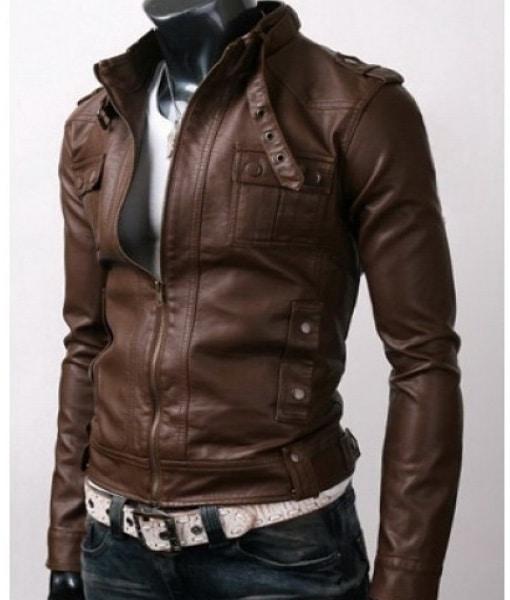 Slimfit-Rider-Strap-Pocket-Brown-Leather-Jacket-1