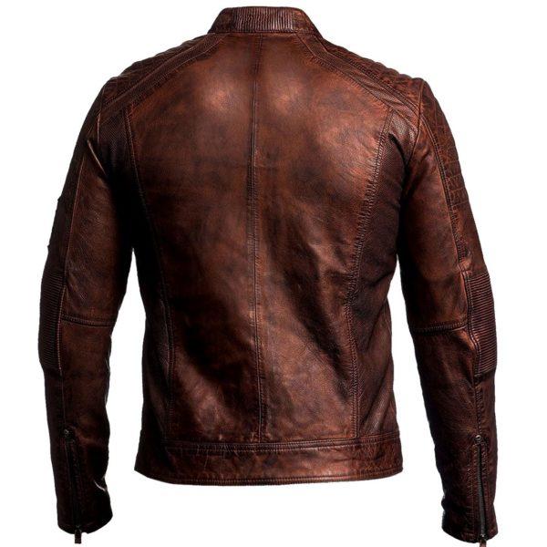 cafe racer brown leather biker jacket