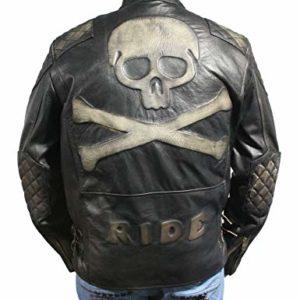 skull bones distressed leather jacket