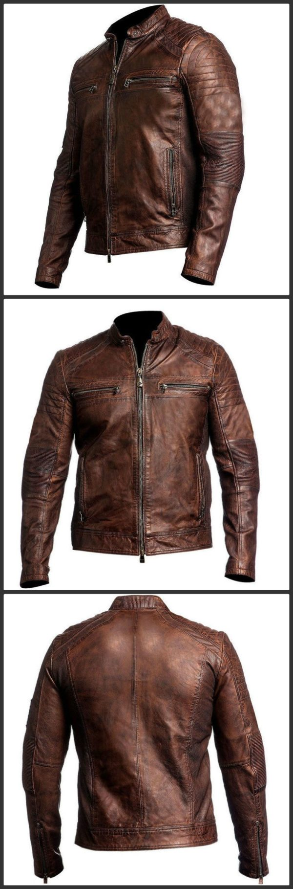 Cafe Racer Sporty Distressed Brown Leather Jacket-shades