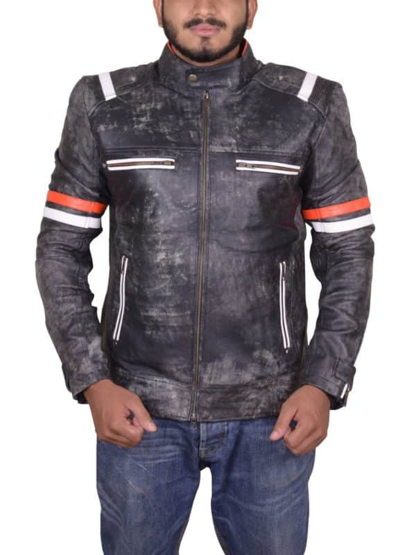 David Beckham Brando Biker Leather Jacket-front