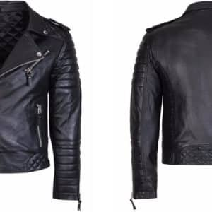 Diamond Quilted Kay Michael Soft Leather Mens Black Biker Jacket-back