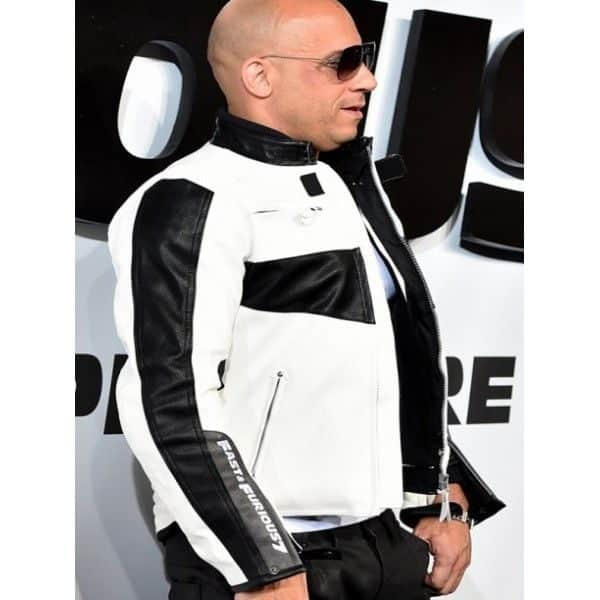 Fast and Furious 7 Vin Diesel White Faux Leather Jacket for Men