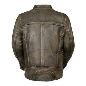 Mens Cafe Racer Distressed Green Leather Jacket-back