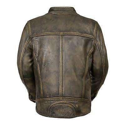 Mens Cafe Racer Distressed Green Leather Jacket-back
