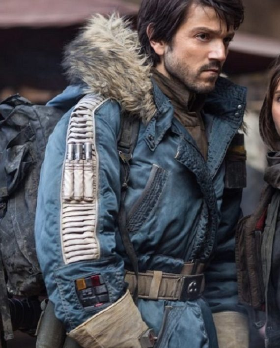 Rogue One Deigo Luna Fur Jacket - Star Wars Captain Cassian Andor Jacket