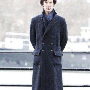 Sherlock Holmes Benedict Cumberbatch Blue Long Trench Coat