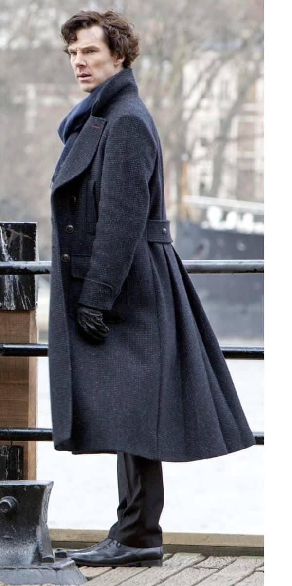 Sherlock Holmes Benedict Cumberbatch Blue Long Trench Coat-side