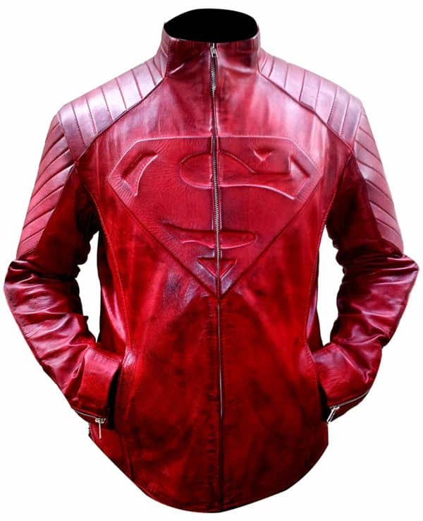 Superman Smallville Red Waxed Leather Jacket-front
