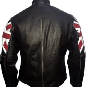 UK Flag Cafe Racer Leather Jacket-back
