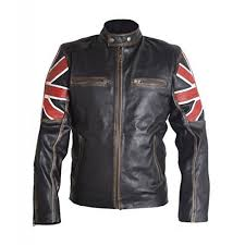 UK Flag Cafe Racer Leather Jacket-front