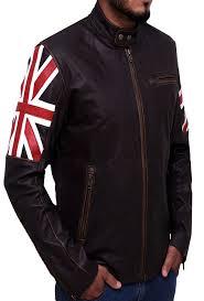 UK Flag Cafe Racer Leather Jacket-sidepose