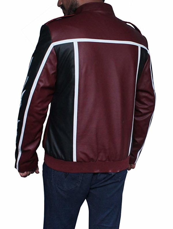 WWE Wrestler Daniel Bryan Dragon Faux Leather Black and Maroon Jacket-back
