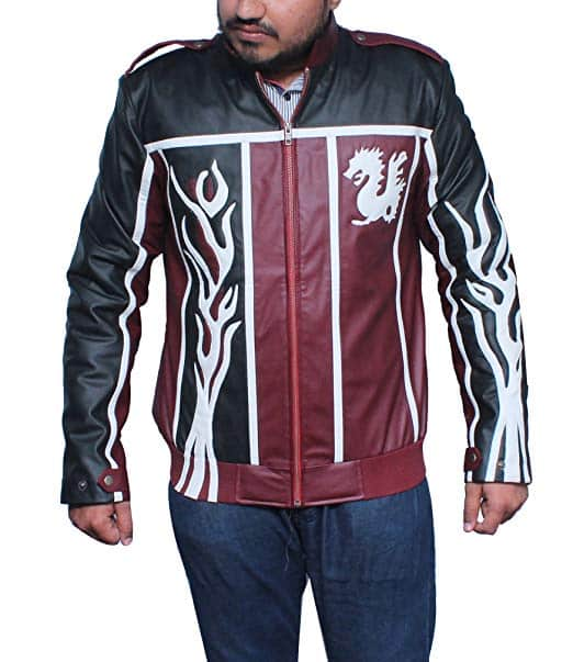 WWE WrestleWWE Wrestler Daniel Bryan Dragon Faux Leather Black and Maroon Jacket-frontr Daniel Bryan Dragon Faux Leather Black and Maroon Jacket-front