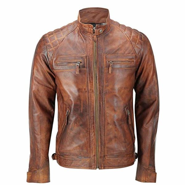 brown leather javket