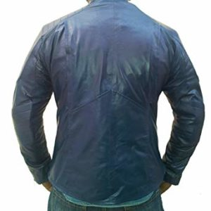 superman blue leather jacket-back