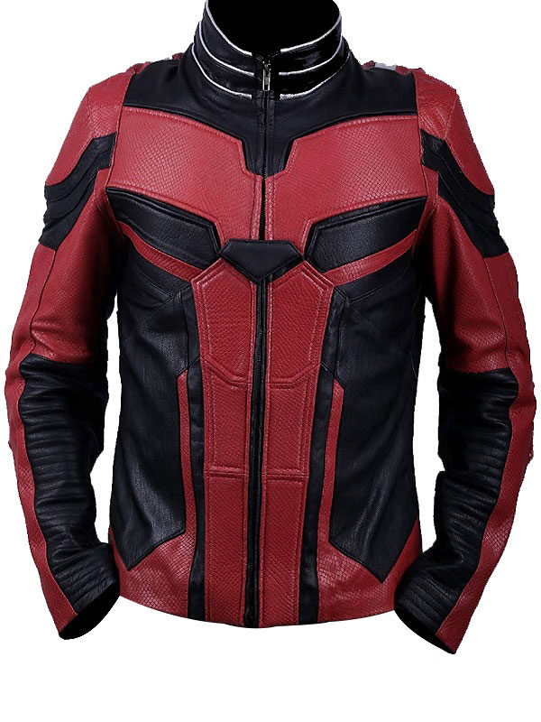 Ant-Man 2 Paul Rudd Red and Black Real Leather Jacket Front
