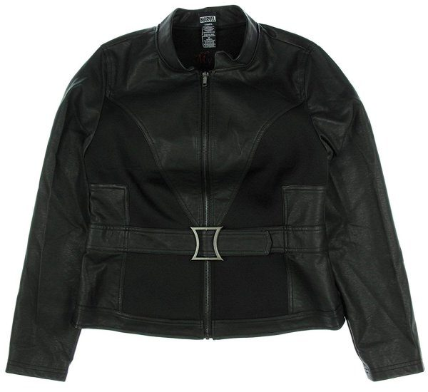 Avengers Black Widow Jacket - Faux and Real Black Leather Jacket For Women Front