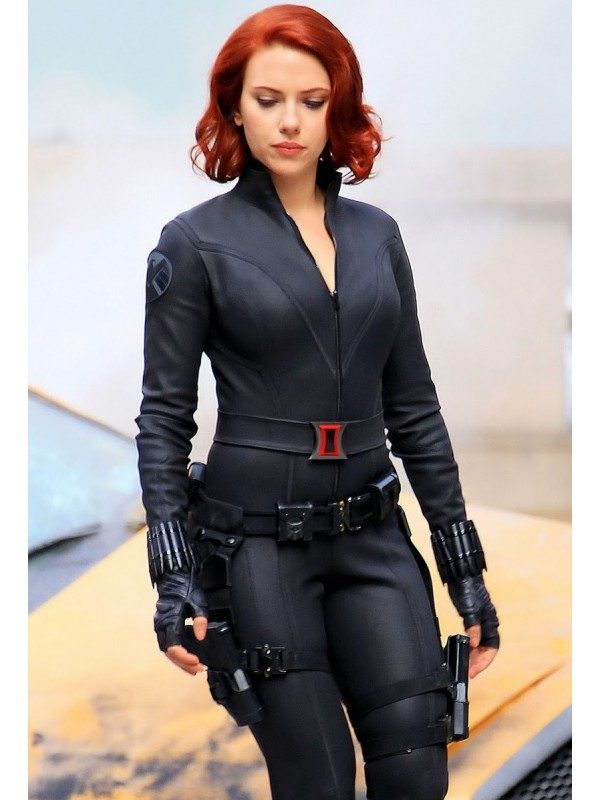 Avengers Black Widow Jacket - Faux and Real Black Leather Jacket For Women Model