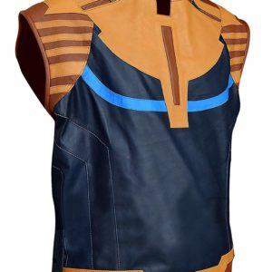 Avengers Infinity War Josh Brolin Thanos Blue Leather Vest Side