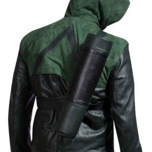 Green Superhero Amell-Costume Oliver Hooded-Leather Jacket