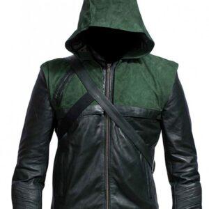 Green Superhero Amell Costume Oliver Hooded Leather Jacket